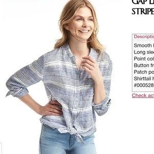 Gap Linen Boyfriend Button-Up Top Striped Nautical